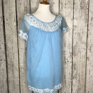 Vintage blue sheer lace nighty